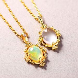 Opal Pendant Necklace Sterling Silver Yellow Gold